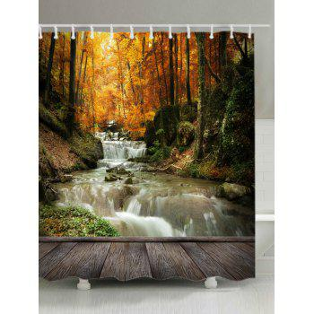 Maple Forest Stream Print Fabric Waterproof Shower Curtain - YELLOW W71 INCH * L71 INCH