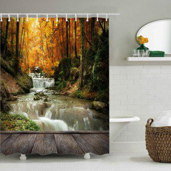 Maple Forest Stream Print Fabric Waterproof Shower Curtain - YELLOW W71 INCH * L79 INCH