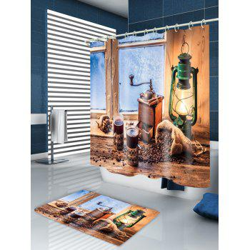 Window Lantern Print Fabric Waterproof Shower Curtain - BROWN W71 INCH * L79 INCH