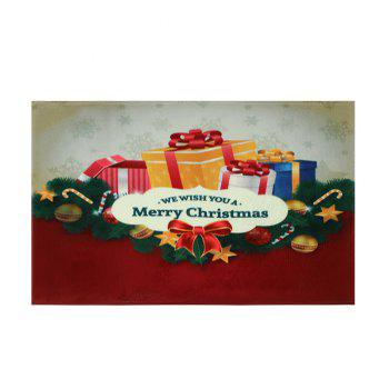 Christmas Gift Print Coral Fleece Nonslip Bath Rug - COLORMIX W16 INCH * L24 INCH
