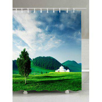 Grasslands Mountains Print Fabric Waterproof Shower Curtain - GREEN W59 INCH * L71 INCH