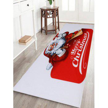 Santa Claus Coral Fleece Christmas Antislip Bath Rug - RED AND WHITE W16 INCH * L47 INCH