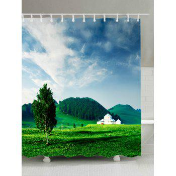 Grasslands Mountains Print Fabric Waterproof Shower Curtain - GREEN W71 INCH * L79 INCH