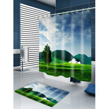 Grasslands Mountains Print Fabric Waterproof Shower Curtain - W71 INCH * L79 INCH W71 INCH * L79 INCH