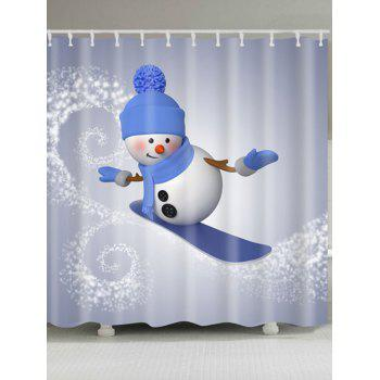 Skateboard Snowman Printed Waterproof Shower Curtain - GRAY GRAY