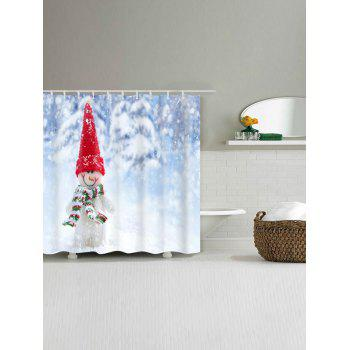Snowman Print Waterproof Polyester Shower Curtain - COLORMIX W59 INCH * L71 INCH
