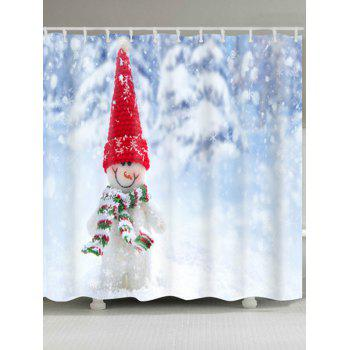 Snowman Print Waterproof Polyester Shower Curtain - COLORMIX W71 INCH * L71 INCH