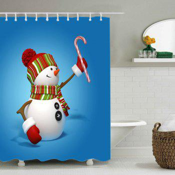Snowman Candy Cane Print Fabric Waterproof Shower Curtain - BLUE BLUE