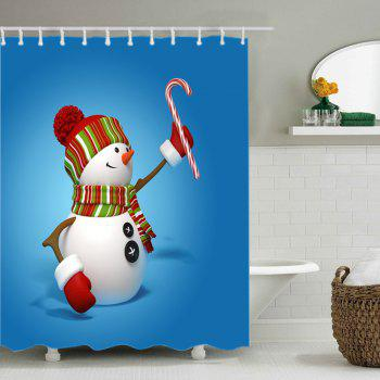 Snowman Candy Cane Print Fabric Waterproof Shower Curtain - BLUE W71 INCH * L71 INCH