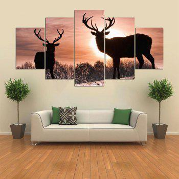 Sunset Elks Patterned Wall Art Split Canvas Paintings - COLORFUL 1PC:12*31,2PCS:12*16,2PCS:12*24 INCH( NO FRAME )