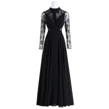 Bowknot Lace Panel Maxi Evening Dress