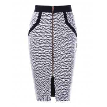 Monochrome Zip Front Pencil Skirt - WHITE AND BLACK M