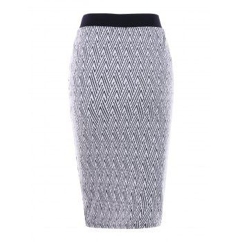 Monochrome Zip Front Pencil Skirt - WHITE/BLACK WHITE/BLACK