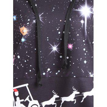Raglan Sleeve Starry Sky Print Christmas Hoodie - BLACK 2XL