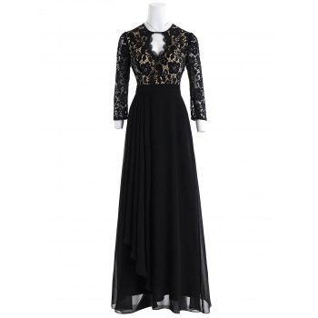 Keyhole Floral Lace Formal Evening Dress - BLACK BLACK