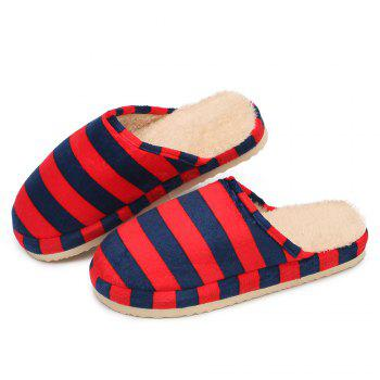 Stripe Faux Fur Padded House Slipper - BRIGHT RED SIZE(38-39)