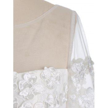 Mesh Yoke Floral Embroidered Maxi Evening Dress - WHITE 2XL