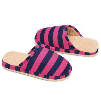 Stripe Faux Fur Padded House Slipper - ROSE RED SIZE(36-37)