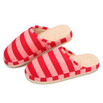 Stripe Faux Fur Padded House Slipper - PINK SIZE(36-37)