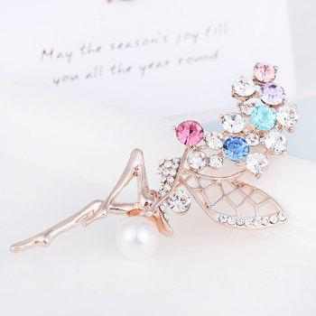 Faux Pearl Rhinestoned Fairy Wings Brooch -  COLORFUL
