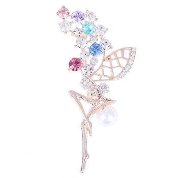 Faux Pearl Rhinestoned Fairy Wings Brooch - COLORFUL COLORFUL