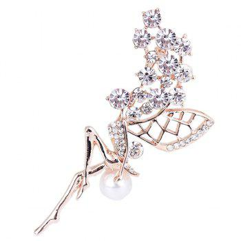 Faux Pearl Rhinestoned Fairy Wings Brooch - WHITE WHITE
