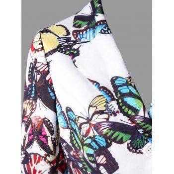Long Sleeve Butterfly Print Blazer - WHITE XL