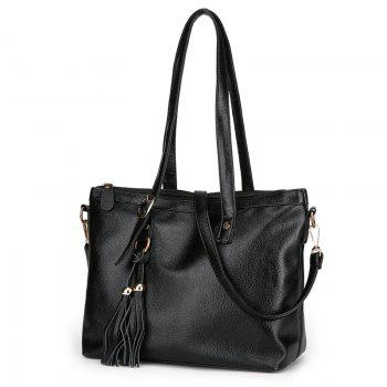Tassel Faux Leather Rivets Shoulder Bag - BLACK