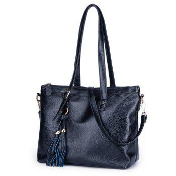 Tassel Faux Leather Rivets Shoulder Bag - BLUE