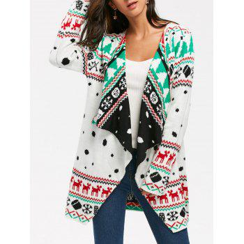 Christmas Graphic Tunic Draped Knitted Cardigan - WHITE S