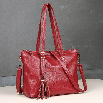Tassel Faux Leather Rivets Shoulder Bag - RED