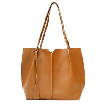 PU Leather Pendant Shoulder Bag Set - BROWN BROWN