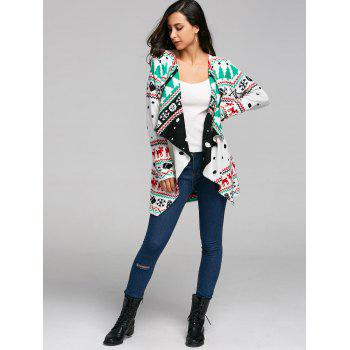 Christmas Graphic Tunic Draped Knitted Cardigan - WHITE M