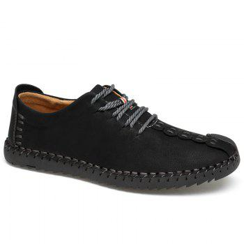 Lace Up Stitching Casual Shoes - BLACK 46