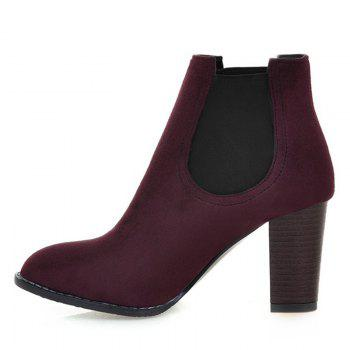 Elasticized Side Panels Faux Suede Boots - WINE RED 39