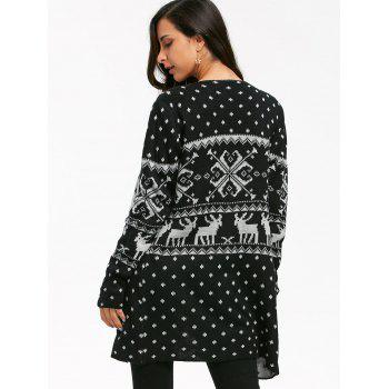 Geometric Christmas Elk Tunic Draped Cardigan - L L