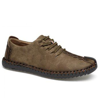 Lace Up Stitching Casual Shoes - KHAKI 46
