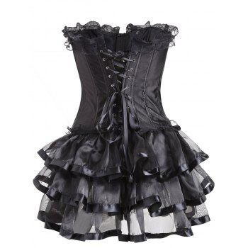 Lace Trim Two Piece Flounce Corset Dress - BLACK S