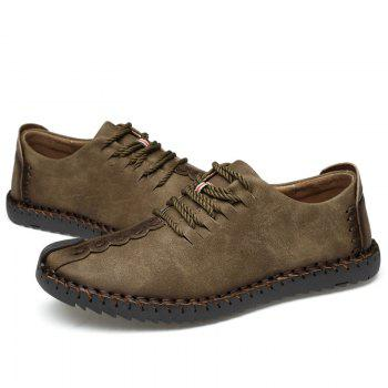 Lace Up Stitching Casual Shoes - KHAKI 44