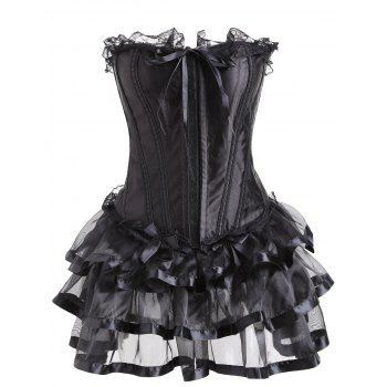 Lace Trim Two Piece Flounce Corset Dress - BLACK XL