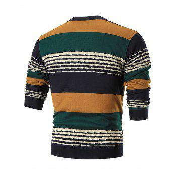 Multi-colored Wide Stripe Pullover Sweater - YELLOW XL