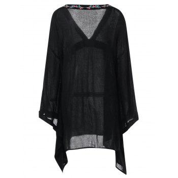 V Neck Butterfly Sleeve Embroidery Blouse - BLACK M