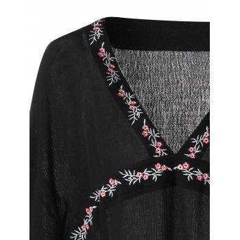 V Neck Butterfly Sleeve Embroidery Blouse - BLACK 2XL