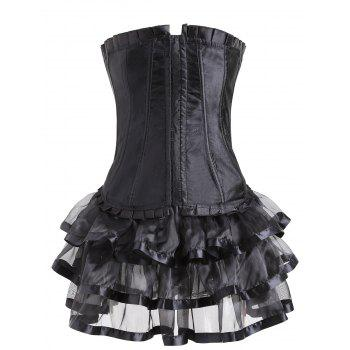 Two Piece Lace-up Corset Dress - BLACK S