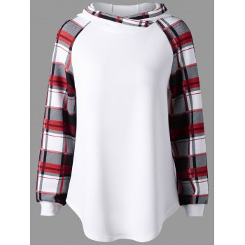 Plaid Raglan Sleeve Hooide - WHITE L