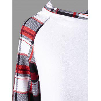 Plaid Raglan Sleeve Hooide - WHITE XL
