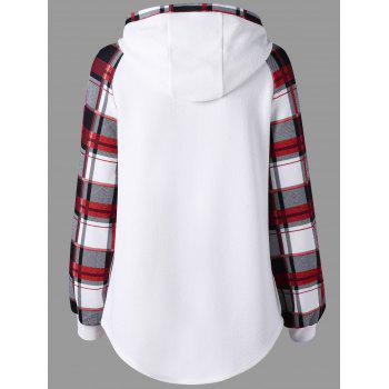 Plaid Raglan Sleeve Hooide - WHITE WHITE