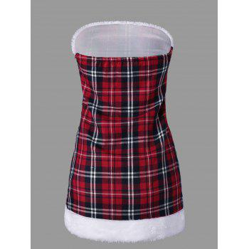 Hooded Plaid Capelet with Tube Top - RED M