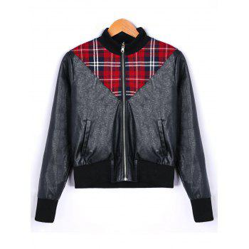 Plaid Panel PU Leather Zip Up Jacket - BLACK M