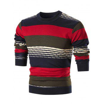 Multi-colored Wide Stripe Pullover Sweater - RED RED
